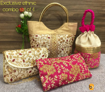 Ethnic Handbags Clutches Combo - Pink