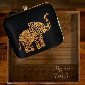 Elephant printed black Square Clutch