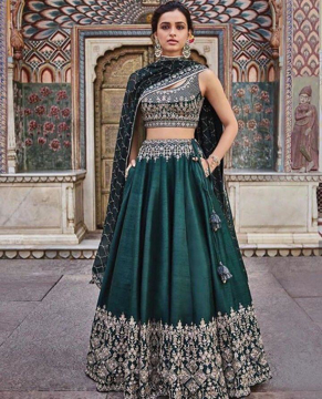 Green lehenga with blouse and dupatta