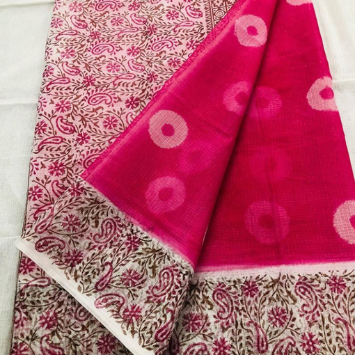 Kota doria hand-block print sarees for women