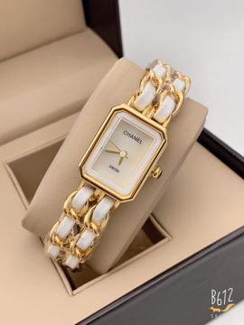 Chanel White Analog Watch with gold chain