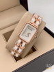 Chanel White Analog Watch with rose gold chain