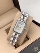 Chanel White Analog Watch with silver chain
