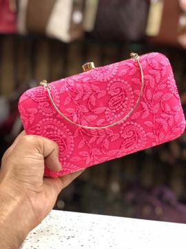 Chikankari embroidered clutch - Pink