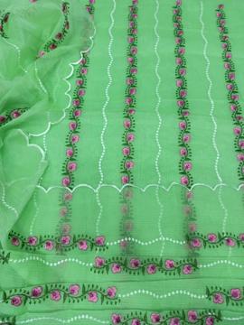 Floral embroidery Kota Doria Dress Material - Parrot Green