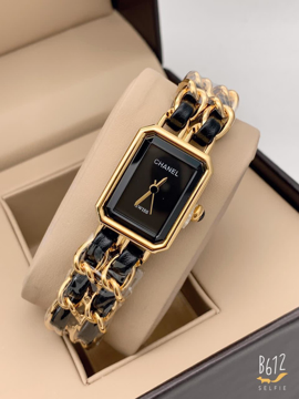 Chanel Black Analog Watch for her - Gold