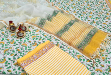 Cotton hand block print kurti with kota doria dupatta