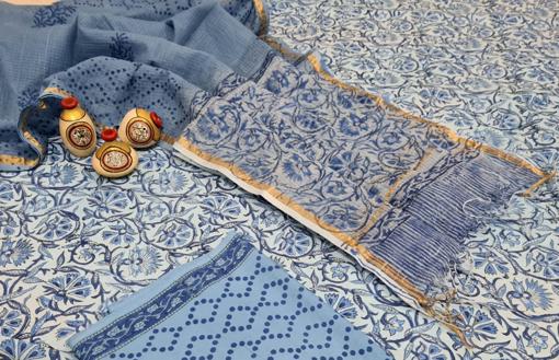 Handblock printed cotton suits for women with kota doria dupatta