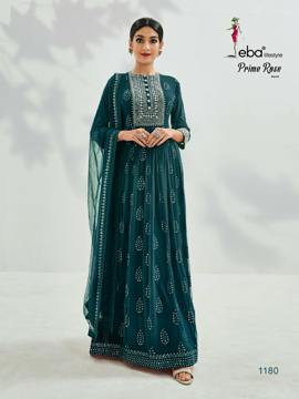 Semi stitched designer gown with dupatta - green
