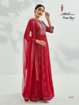 Semi stitched designer gown with dupatta - red