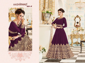 Heavy thread work designer gowns - Burgundy