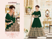 Heavy thread work designer gowns - Bottle green
