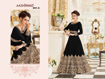 Heavy thread work designer gowns - Black