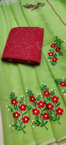 Green Kota Doria Saree with Floral Embroidery