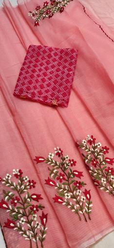 Rose Pink Kota Doria Saree with Floral Embroidery