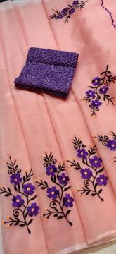 Peach Kota Doria Saree with Floral Embroidery