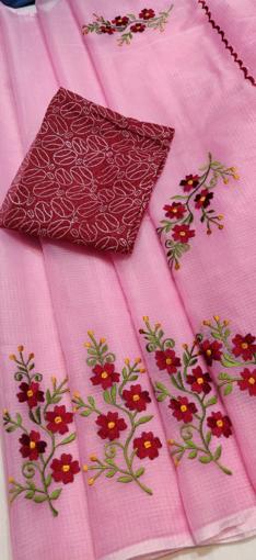 Pink Kota Doria Saree with Floral Embroidery