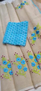 Beige Kota Doria Saree with Floral Embroidery