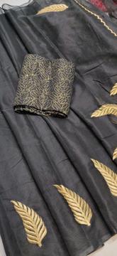 Black Kota Doria Saree with Floral Embroidery