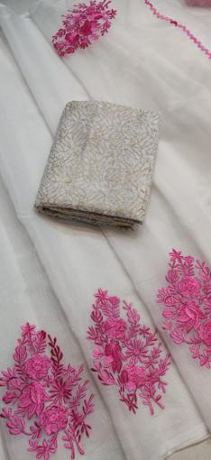 White Kota Doria Saree with Floral Embroidery - Pink