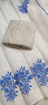 White Kota Doria Saree with Floral Embroidery - Blue