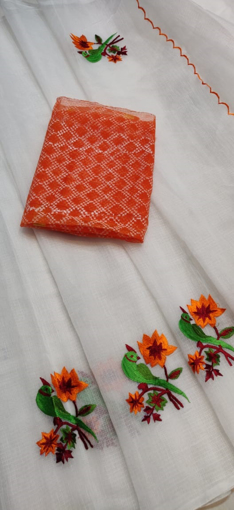 Kota Doria Cotton Saree with parrot embroidery and contrast blouse