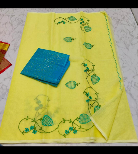 Buy Kota cotton sarees with embroidery online - yellow
