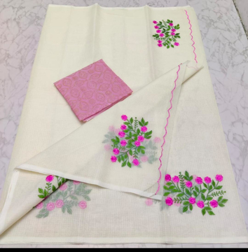 Latest Kota doria sarees with embroidery work