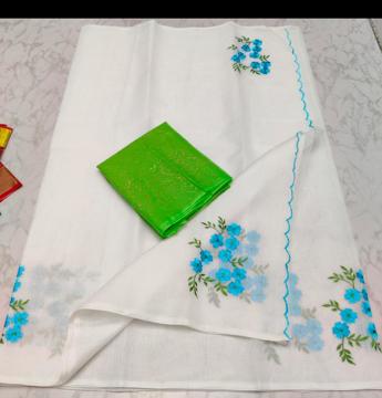 Pure Kota Doria Sarees with embroidery work