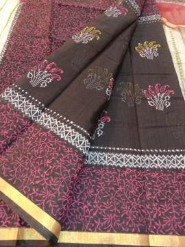 Kota Doria Cotton Sarees With Handblocked Print