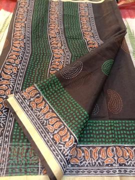 Kota cotton sarees online with block printing