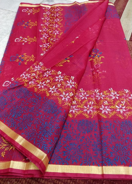 Bright Pink block print Kota Doria saree for summers