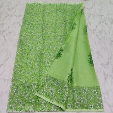 Kota Doria floral block print cotton saree - Green