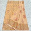 Kota Doria floral block print cotton saree - Cream