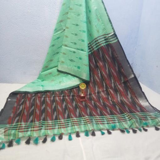 Ikkat Cotton Saree - Green