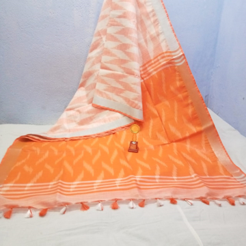 Cotton Ikkat sarees for summers in shades of orange - white