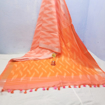 Cotton Ikkat sarees for summers in shades of orange - peach