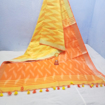 Cotton Ikkat sarees for summers in shades of orange - yellow