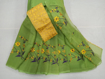 Kota Doria Saree with Floral Embroidery Online - Pear green