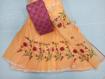 Kota Doria Saree with Floral Embroidery Online - Orange