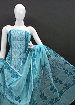 Pure Kota Doria Printed Suit Online - blue