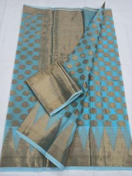 Pure Kota Doria Cotton Zari Sarees Online - Blue