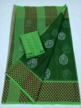 Dark Green Kota Doria Block Print Saree