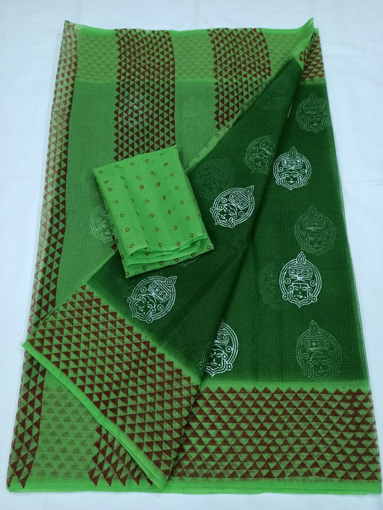 Dark Green Kota Doria Block Print Saree