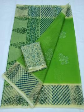 Green Kota Doria Block Print Saree