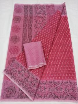 Pink Kota Doria Block Print Saree