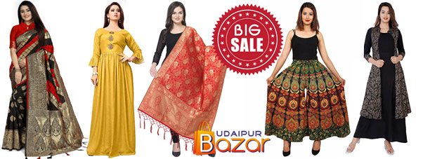 Festive season sale on Udaipur Bazar, Kota Doria Suits, Indo Western, Kurtis, Gowns, Ethnic wear.