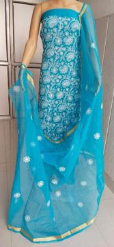 Chikankari dress material in Kota Doria - Blue