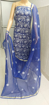 Chikankari dress material in Kota Doria - Navy Blue