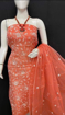 Kota Doria Chikankari Dress Material - orange